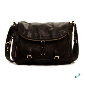 Sabina NY Leather Convertible Flap Bucket Satchel